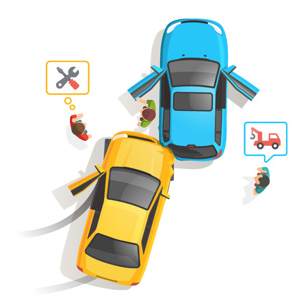 Car traffic accident top view. People standing and calling for help, repair and tow truck. Flat style vector illustration isolated on white background. Stock Illustratie