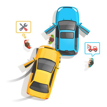 carro: Coche accidente de tráfico vista superior. La gente de pie y pidiendo ayuda, la reparación y el camión de remolque. Ilustración vectorial de estilo plano aislado en fondo blanco.