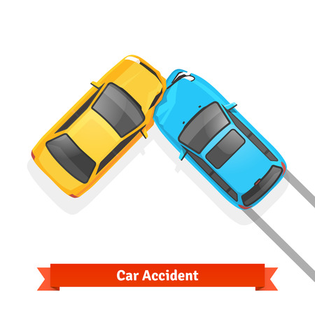 broken down: Frontal 90 degree car crash road accident. Flat style vector illustration isolated on white background.