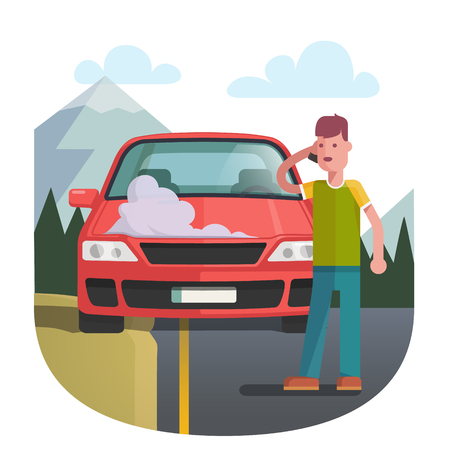 Man on a roadside standing near broken car covered with steam and smoke and calling cell phone for help. Flat style vector illustration isolated on white background.