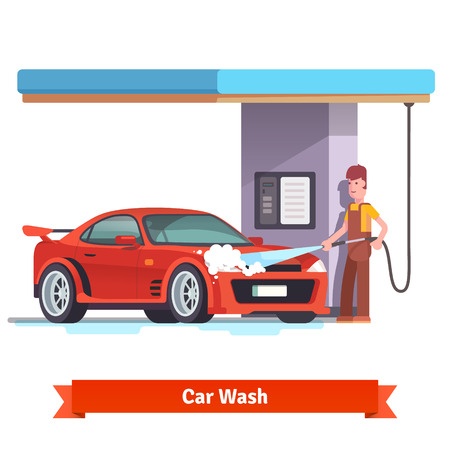 car clean: Car wash specialist in uniform washing red sports car under the roof. Spraying water from the hose. Flat style vector illustration isolated on white background.