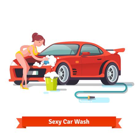 naked woman: Сексуальная женщина в купальник стиральной красный спортивный автомобиль с пеной и пузырьками. Плоский стиль векторные иллюстрации на белом фоне.