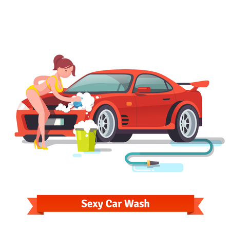 big breast: Sexy woman in swimsuit washing red sports car with foam and bubbles. Flat style vector illustration isolated on white background.