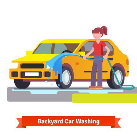 lavado: Mujer que lava su coche de la familia con la pulverización de la manguera en el patio trasero. Estilo plano 3d ilustración vectorial aislados en fondo blanco.