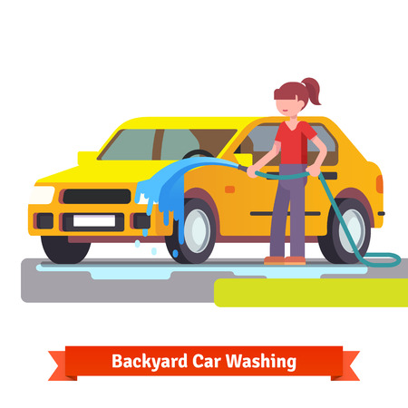 concept car: Woman washing her family car with spraying hose in the backyard. Flat style 3d vector illustration isolated on white background. Illustration