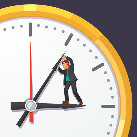Man in business suit trying to stop time. Stopping minute hand on a big clock on the wall. Immortality and business deadline concept. Flat style vector illustration on blue background.
