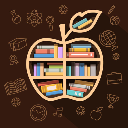 encyclopedic: Education, learning and knowledge concept. Apple shaped shelf full of books and thin line icons. Flat style vector illustration isolated on white background.