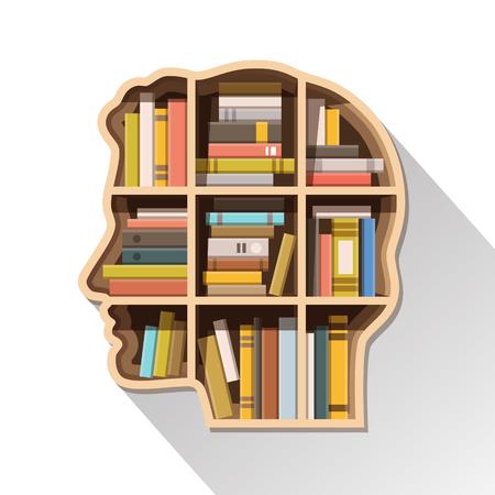 La educación, el aprendizaje y el concepto de conocimiento. Cabeza humana en forma de estante lleno de libros. Ilustración vectorial de estilo plano aislado en fondo blanco.