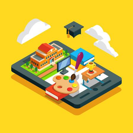 aula: Moderno concepto de educación en las aulas de la escuela. El aprendizaje a distancia de la nube. Universidad o edificio collage, escritorio, libros, pantalla del ordenador y casquillo académico en una tableta. Estilo plano isométrico ilustración vectorial.