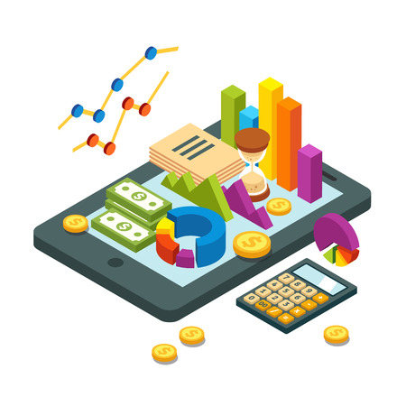 Modern business and analytics concept. Pie chart, bar graphs, money bills and coins and calculator lying on a tablet computer. Flat style isometric vector illustration isolated on white background.