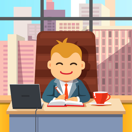 cfo: Big boss CEO sitting at the desk with laptop and coffee cup in big directors chair writing in notebook. Flat style cartoon vector illustration isolated on white background.