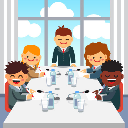 director chair: CEO standing at the head of big table and giving a speech to a business executive team at the high floor room office of skyscraper. Kids directors board meeting. Flat style vector illustration.