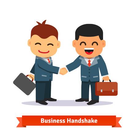traje formal: Dos hombres de negocios dándose la mano. Empresario sonriente feliz en traje y con la cartera. Encaja el concepto de cierre. Estilo plano ilustración vectorial de dibujos animados aislado en el fondo blanco.