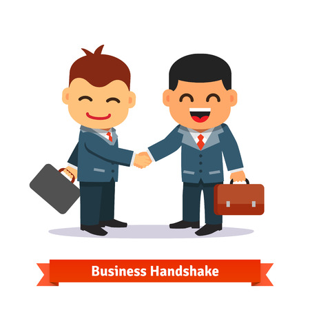 deal in: Two business people shaking hands. Happy smiling businessman in suit and with briefcase. Deal closing concept. Flat style cartoon vector illustration isolated on white background.