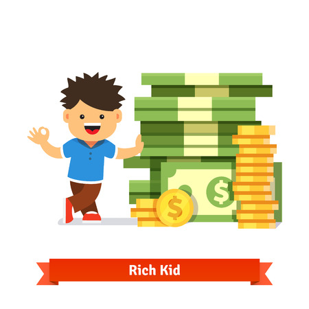 Boy kid standing and leaning to a huge pile of money. Stacked dollar bills and coins. Children savings and finance concept. Flat style cartoon vector illustration isolated on white background. Ilustração
