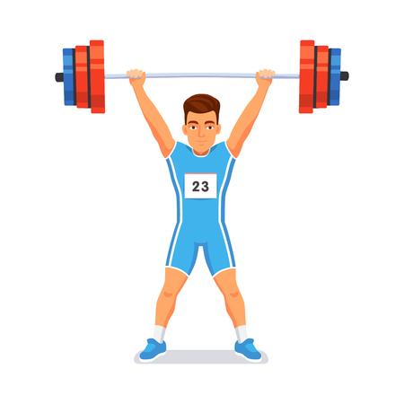 levantamiento de pesas: Fuerte deportista culturista levantando mancuerna de peso pesado en la cabeza. Deporte de Halterofilia. Ilustración vectorial de estilo plano aislado en fondo blanco.