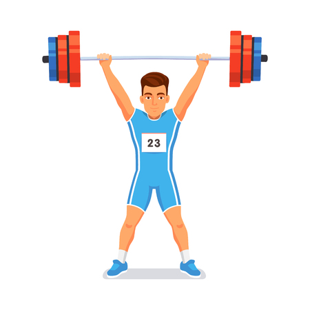 Strong bodybuilder sportsman lifting heavyweight barbell over his head. Weightlifting sport. Flat style vector illustration isolated on white background. Illustration