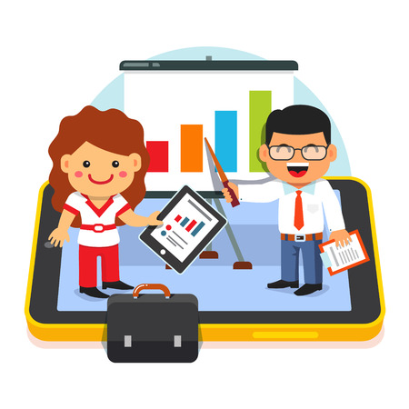 sales growth: Modern business analytics concept. Businessman and businesswoman kids standing on tablet computer and showing sales growth charts. Flat style vector illustration isolated on white background. Illustration
