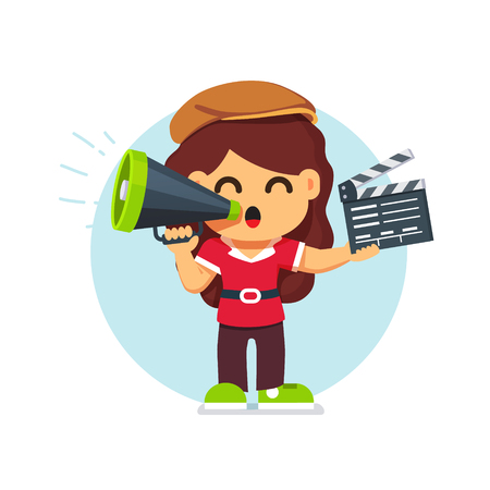 Movie director girl in directors hat standing with with loud speaker and clapperboard. Flat style cartoon vector illustration isolated on white background.