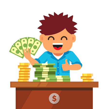 Boy showing fanned out green cash currency and pile stacks of dollar bills and gold coins on the desk. Kid finances and savings concept. Flat style vector illustration isolated on white background. Illustration