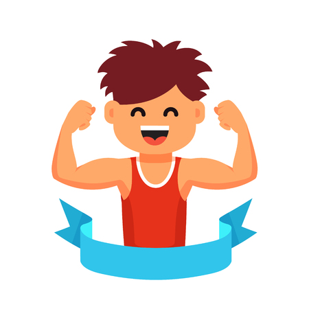 strong: Strong athletic looking kid showing his biceps muscles in a blue winner ribbon. Sportsman children healthy lifestyle concept. Flat style cartoon vector illustration isolated on white background.