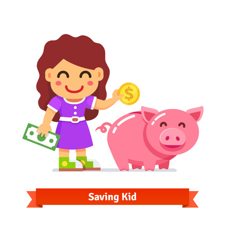 cartoon bank: Kid saving money in a big piggy bank. Children finances and savings concept. Flat style cartoon vector illustration isolated on white background. Illustration