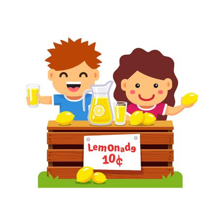 limon caricatura: Niños que hacen dinero. Niños emprendedores jóvenes que venden limonada en su primera empresa privada. Estilo plano ilustración vectorial de dibujos animados aislado en el fondo blanco.