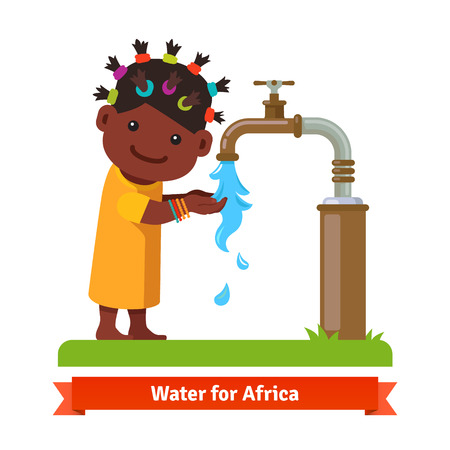 cholera: Happy smiling african girl washing hands and drinking water from a rusty pipe faucet tap. Water shortage symbol. Flat style cartoon vector illustration isolated on white background.