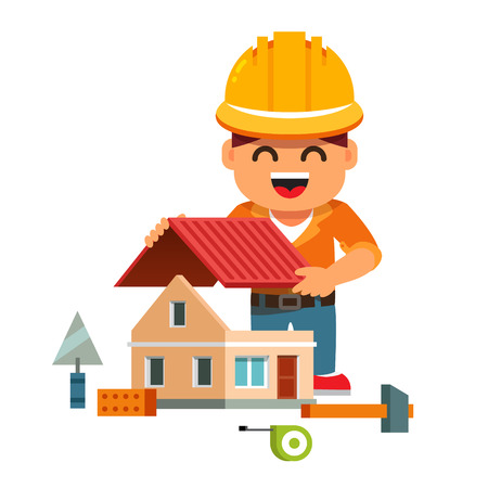 small tools: Young smiling house builder in hardhat building home and mounting new roof. Flat style cartoon vector illustration isolated on white background.