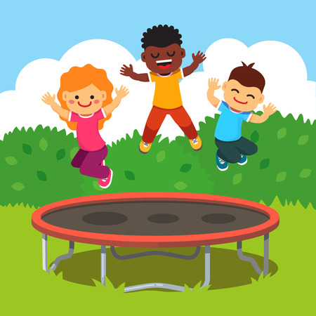 fun: Three excited and smiling kids jumping on trampoline in a courtyard. Children having fun at a happy summertime vacation. Flat style cartoon vector illustration.