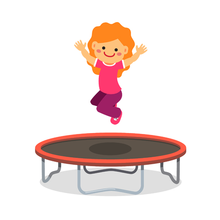 Happy girl jumping on trampoline. Flat style cartoon vector illustration isolated on white background. Stock Illustratie