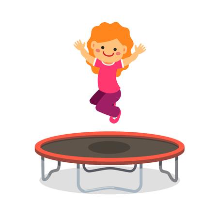 jumping: Muchacha feliz que salta en el trampolín. Estilo plano ilustración vectorial de dibujos animados aislado en el fondo blanco.