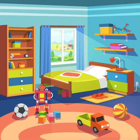 room: Boy room with big window suffused with light. With bed, cupboard, shelves, and toys on the floor. Flat style cartoon vector illustration.