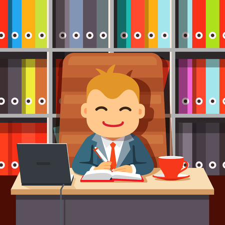 department head: Big boss CEO sitting at the desk with laptop and coffee cup in big directors chair writing in notebook in front of shelf with colourful document file folders. Flat style cartoon vector illustration.
