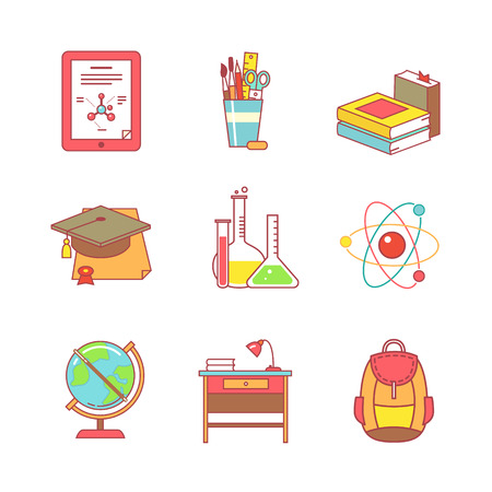 test tube holder: Education learning and school thin line icons set. Modern flat style symbols isolated on white for infographics or web use. Illustration