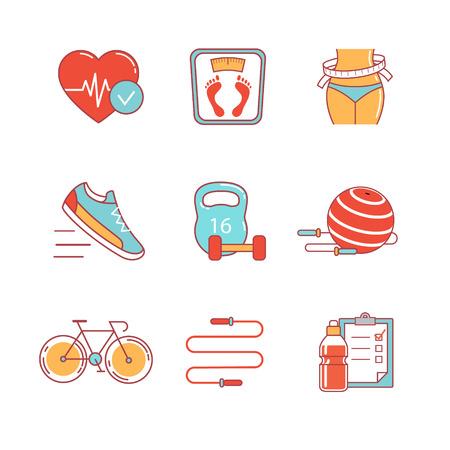 Abnehmen, Fitness und gesunde Lebensweise dünne Linie Symbole gesetzt. Moderne Flach symbole isoliert auf weiß für Infografiken oder Web-Nutzung. Standard-Bild - 47050301