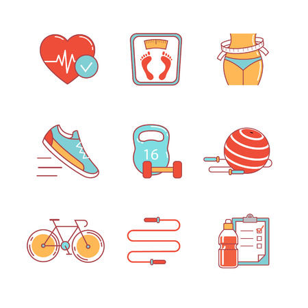 Slimming, fitness and healthy lifestyle thin line icons set. Modern flat style symbols isolated on white for infographics or web use. Иллюстрация