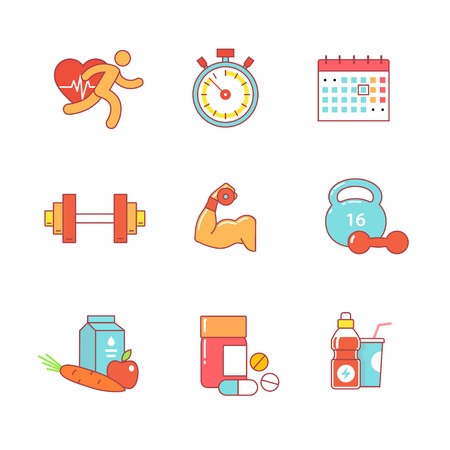bodybuilding: Bodybuilder, health, fitness and running thin line icons set. Modern flat style symbols isolated on white for infographics or web use. Illustration