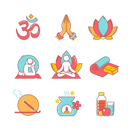 mujer meditando: Iconos de línea delgada Yoga establecen. Símbolos de estilo plana modernos aislados en el blanco para la infografía o uso de la Web.