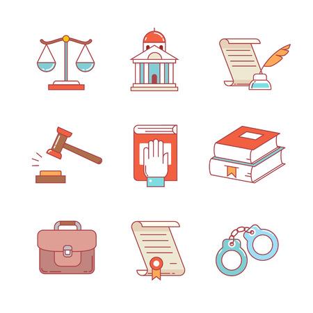 法律、法律、弁護士、裁判所の細い線アイコンを設定します。モダンなフラット スタイル シンボル インフォ グラフィックや web 用白で隔離。