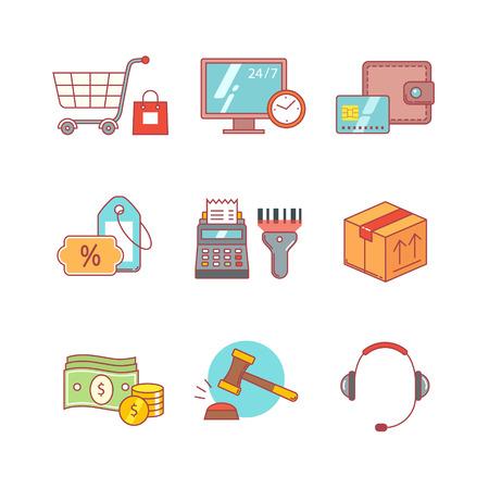 maquina registradora: comercio al por menor de productos, el comercio por Internet y los iconos de compras de línea delgada conjunto. símbolos de estilo moderno plana aislados en blanco para la infografía o uso de la Web.