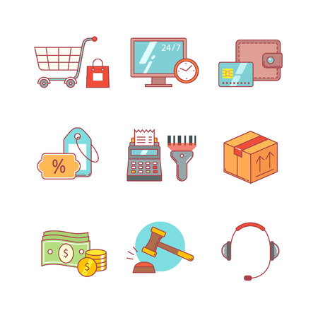register: Product retail business, internet commerce and shopping thin line icons set. Modern flat style symbols isolated on white for infographics or web use.