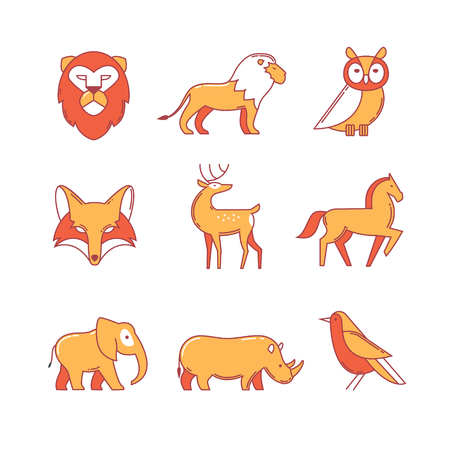 gait: Popular wild life animals thin line icons set. Modern flat style symbols isolated on white for infographics or web use.
