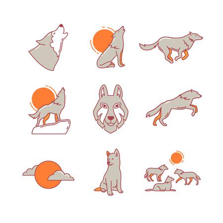 lobo feroz: Lobos acarreo en la luna llena en la roca, saltando y corriendo, cachorro de lobo, de cabeza y de carga. Iconos de línea delgada. Símbolos de estilo plana modernos aislados en el blanco para la infografía o uso de la Web.