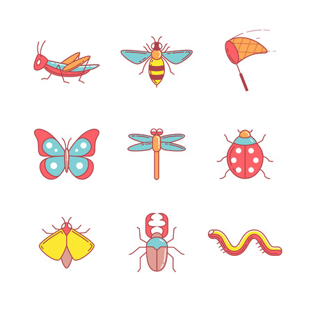 hopper: Insects thin line icons set. Modern flat style symbols isolated on white for infographics or web use. Illustration