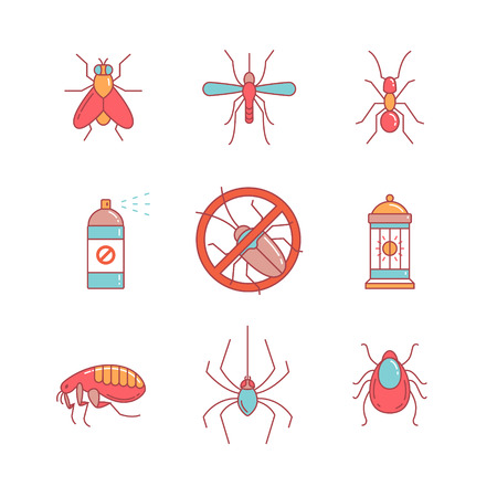disease carrier: Insects control, anti pest emblem, insecticide, thin line icons set. Modern flat style symbols isolated on white for infographics or web use.