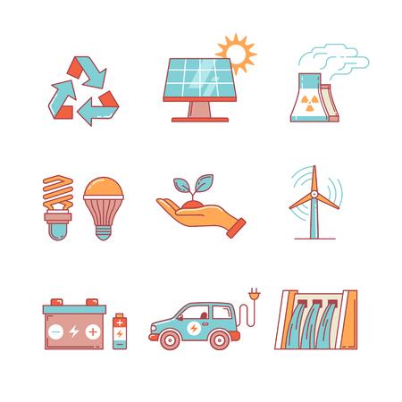 発電、生態エネルギー細い線のアイコンを設定します。モダンなフラット スタイル シンボル インフォ グラフィックや web 用白で隔離。  イラスト・ベクター素材