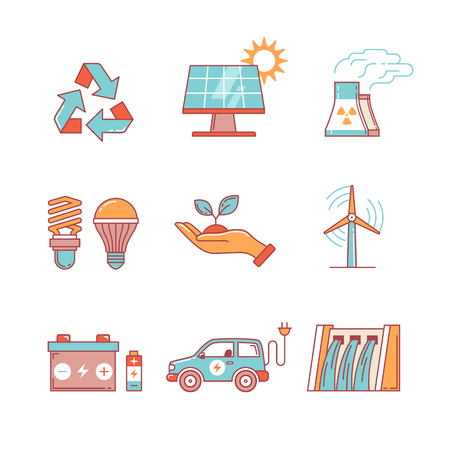 dam: Power generation and ecologic energy thin line icons set. Modern flat style symbols isolated on white for infographics or web use.