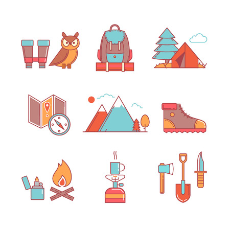 bivouac: Forest and mountains hiking thin line icons set. Modern flat style symbols isolated on white for infographics or web use. Illustration