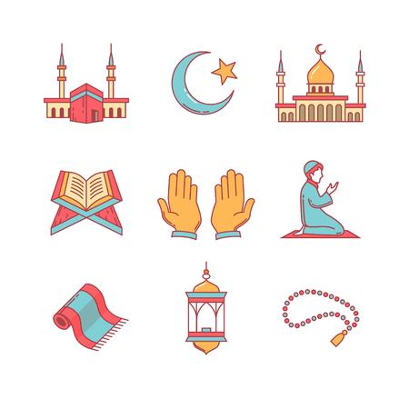 Moslim islam gebed en Ramadan Kareem dunne lijn iconen set. Moderne vlakke stijl symbolen geïsoleerd op wit voor infographics of web gebruik. Vector Illustratie